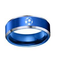 Dropshipping do USA Kanada Australia 8 MM Football Projekt męska Niebieski Pierścień Wolframu Comfort Fit Wedding Band Rozmiar 6-13