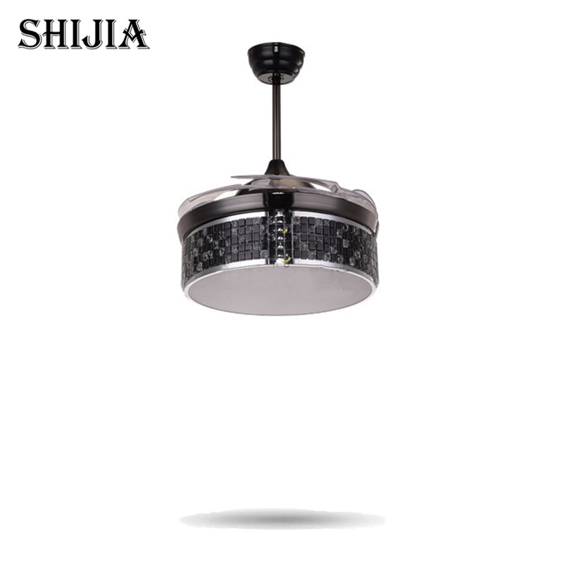 Led Luxury Bule Crystal Ceiling Fans With Light And Remote