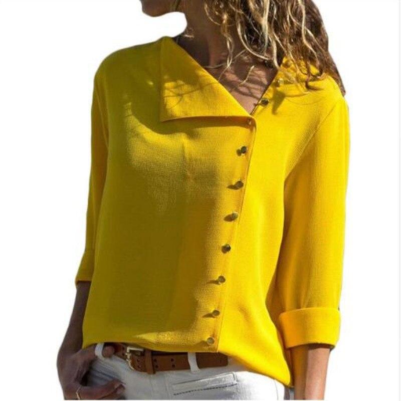 Women   Blouses   2019 Fashion Skew Collar Long Sleeve   Blouses     Shirt   Casual Loose Tops Blusas Chemise Femme Plus Size 3XL
