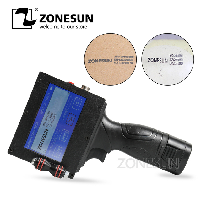 ZONESUN Handheld Intelligent Inkjet Printer Coding machine Coding machine  Barcode Label Maker  for Industrial Date