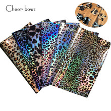 Cheer bow 22*30cm Leopard Artificial Leather Fabric Sheet Fashion Mirrored DIY Hairbows Accessories Handmade Bags Shoes Material(China)