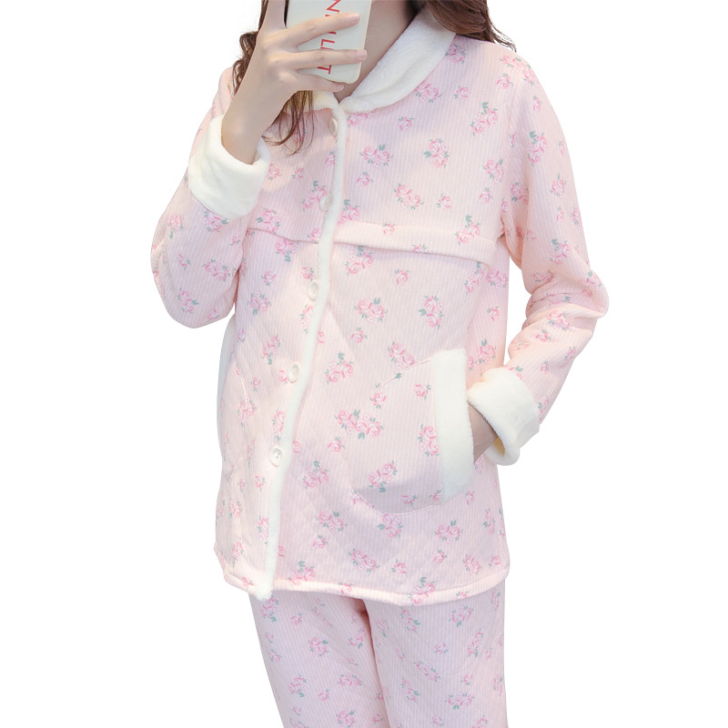 Maternity clothing Nursing postpartum breastfeeding maternal nursing clothes cotton autumn winter warm pregnant women pajamas