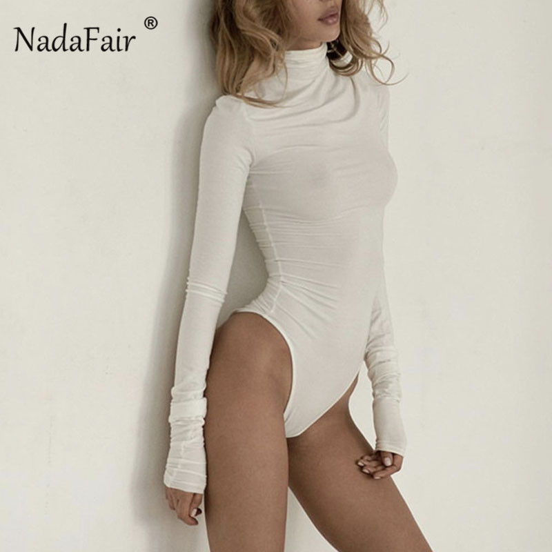 Nadafair Long Sleeve Turtleneck Bodysuit Women Skinny Autumn Winter Romper   Jumpsuit   Streetwear Black White Neon Body Suit Female