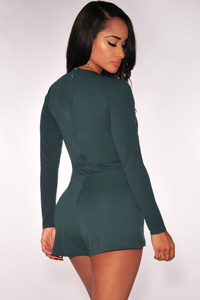 44fe592f370 Green Black Women Sexy Deep V Neck Long Sleeve Rompers Short Jumpsuit  Bodycon Slim Fit Bodysuit Overalls One Piece Romper D60703 on  Aliexpress.com