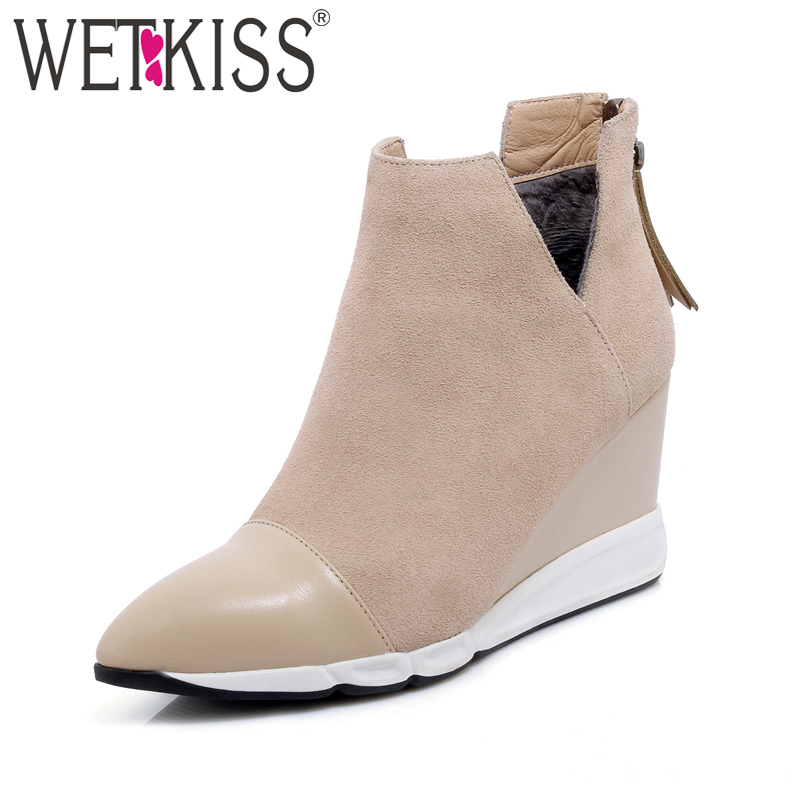 WETKISS 2018 Genuine Suede Leather Ankle Boots Women Wedges Shoes Woman Pointed toe Zipper Footwear Platform Winter Boots wetkiss big size 32 43 genuine leather pointed toe ankle boots women 2017 winter boots short plush keep warm wedges shoes woman