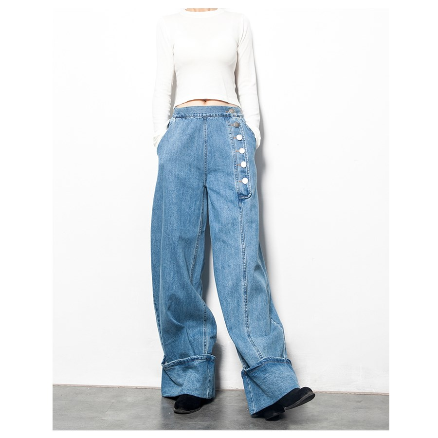 Loose Jeans Women Wide Leg Pants Casual Fashion Wild Women Jeans Solid Color Cotton Autumn and Winter New 2017 Jeans hot new large size jeans fashion loose jeans hip hop casual jeans wide leg jeans