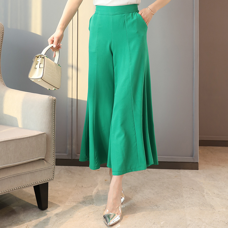 Summer Women Flare   Pants   Plus Size Elastic Loose   Wide     Leg     Pants   Female High Waist Summer   Pants   for Women Trousers with Pocket