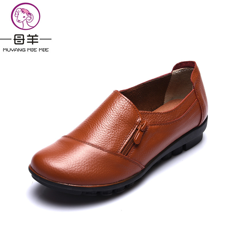 MUYNAG MIE MIE Women Flats Genuine Leather Single Flat Shoes 2018 Fashion Women's Shoes Woman Breathable Mother Maternity Shoes muyang mie mie 2017 new fashion women flats rhinestone genuine leather flat shoes woman casual shoes soft round toe women shoes