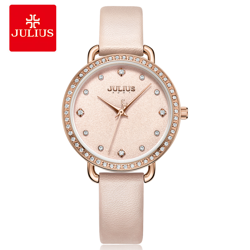 New Fashion Lady Women's Watch Japan Quartz Hours Elegant Leather Bracelet Rhinestone Clock Girl's Birthday Gift Julius 1074 julius lady women s wrist watch elegant shell rhinestone business fashion hours dress bracelet leather girl birthday gift 676