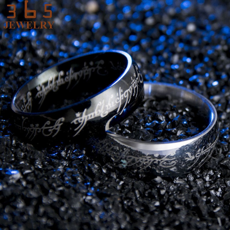 2016-Magic-Letter-The-Hobbit-Lord-of-the-Rings-Black-Silver-Gold-Titanium-Stainless-Steel-Ring (1)