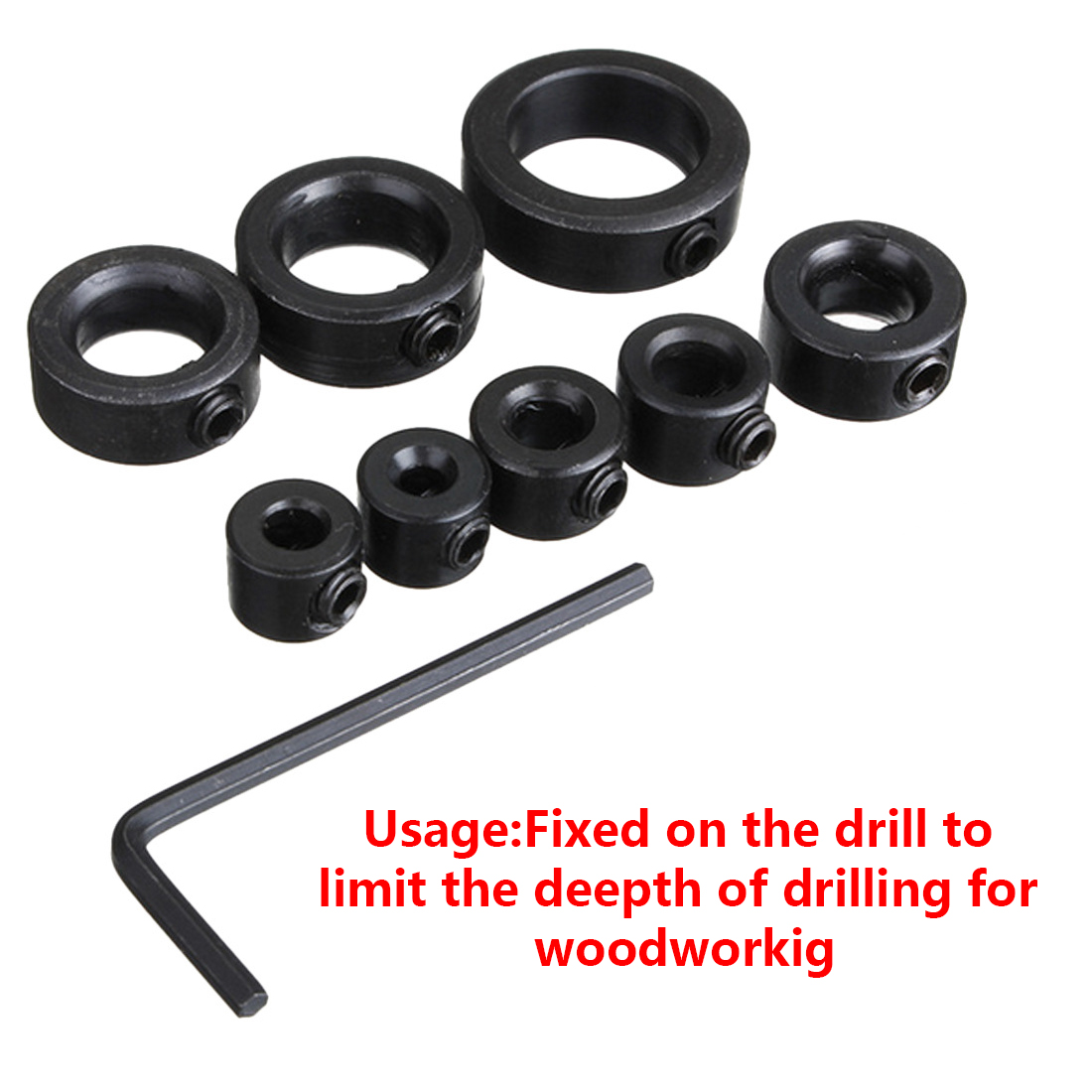 Woodworking Drill Depth Stop Collars Ring Dowel Shaft Chuck Wrench For Woodworking Tools 3mm 4mm 5mm 6mm 8mm 10mm 12mm/16mm image