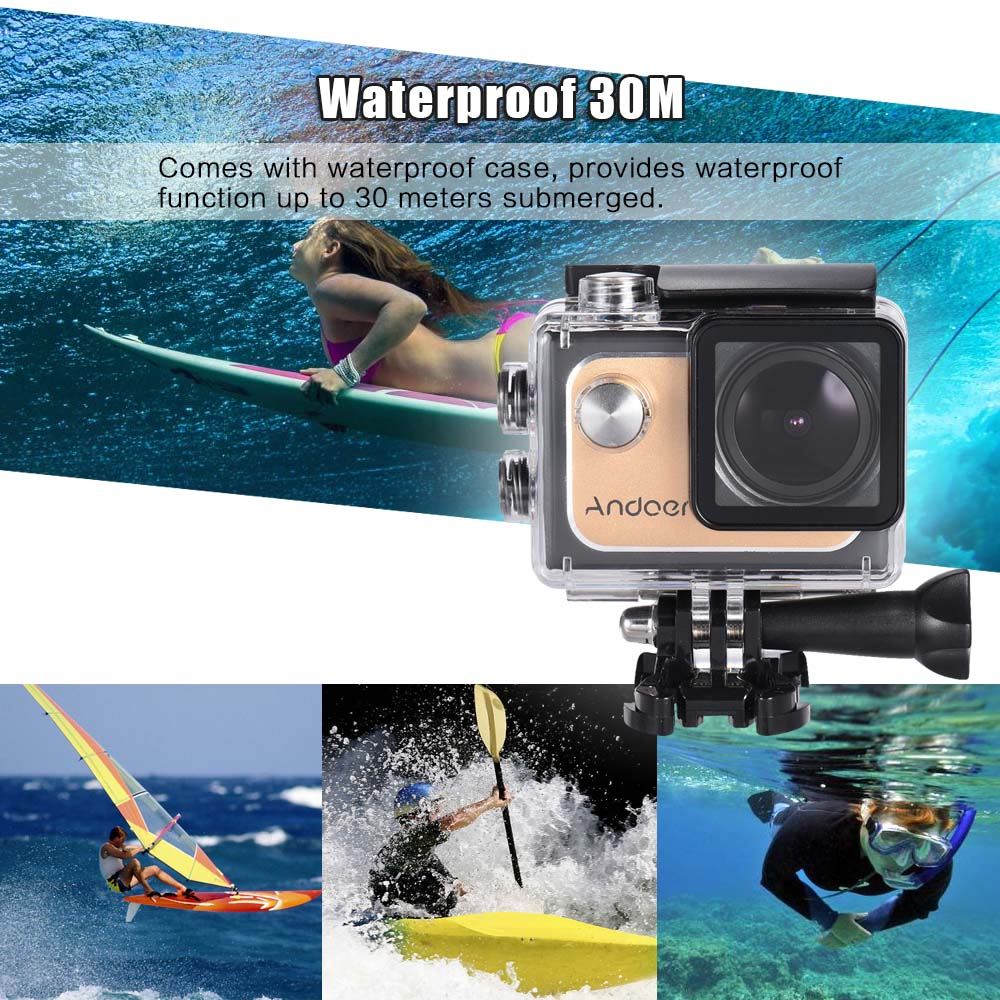 Andoer 4k 30fps 1080p Full Hd Wifi Action Camera 16m 20in Ltps Lcd 0in Ultrahd Kamera Screen 173 Degree Wide Angle Mini Camcorder In Sports Video From