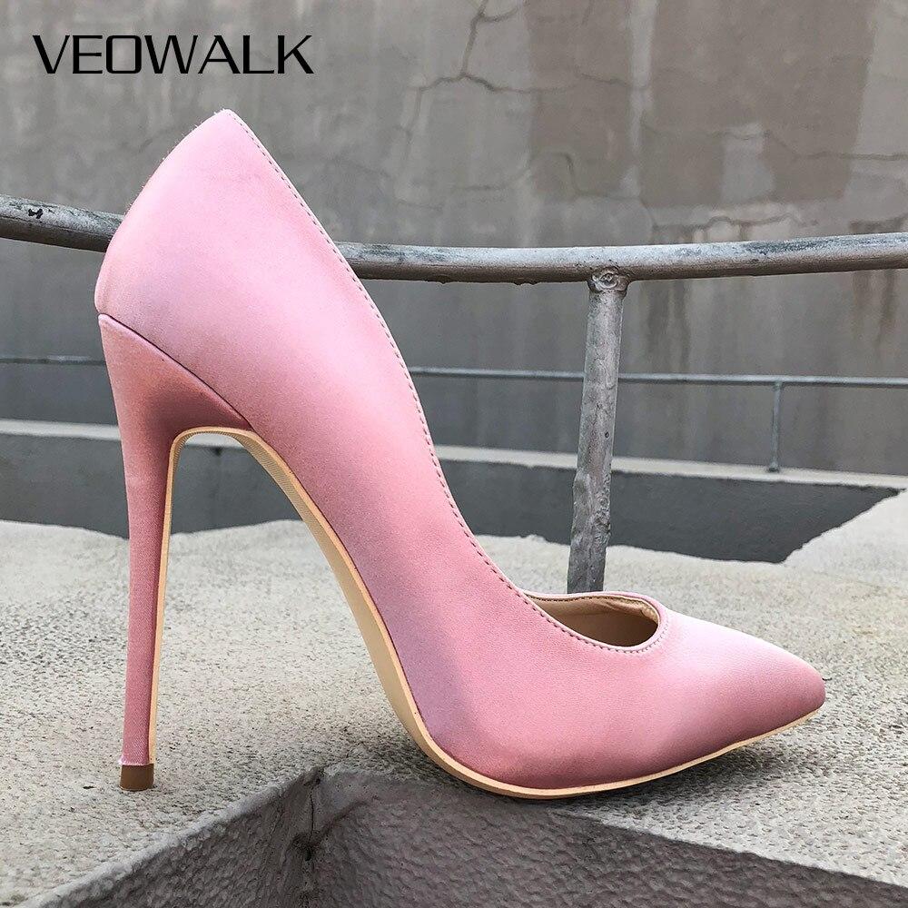 De Élégantes Glissent 10cm Les Pompes Stiletto Soie 12cm Pointu 8cm Supérieure Haut Sur Bout Mariage Veowalk Chaussures Rose Heels Femmes Satin Pink Heels Talons Dames Mariée Sexy pink 0kwO8nP