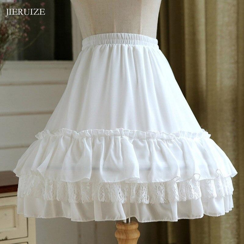 JIERUIZE Ball Gown Underskirt Short Dress Cosplay Petticoat Lace Chiffon Two Bones Lolita Petticoat Rockabilly Crinoline