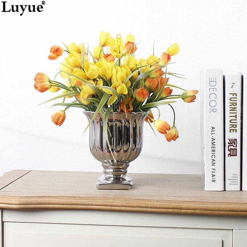 Luyue tienda oficial de mini 12 cabezas tulipán flor artificial pequeño ramo de