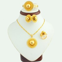 The New Arrival 2016 Big Size Ethiopian Jewelry Set 24k Gold Plated Bridal Jewelry Sets Gift