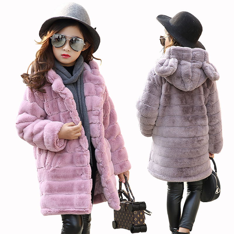 Girl's Winter Imitation Fur Coat 2018 Girls Thick Fluff Warm Coat Children Baby Clothes Kid Thick Plus Velvet Coat Wholesale plus contrast striped coat
