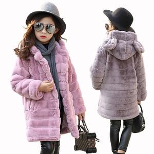 Image 1 - Inverno da menina imitação casaco de pele 2020 meninas grosso fluff casaco quente crianças roupas do bebê criança grosso mais veludo casaco atacado