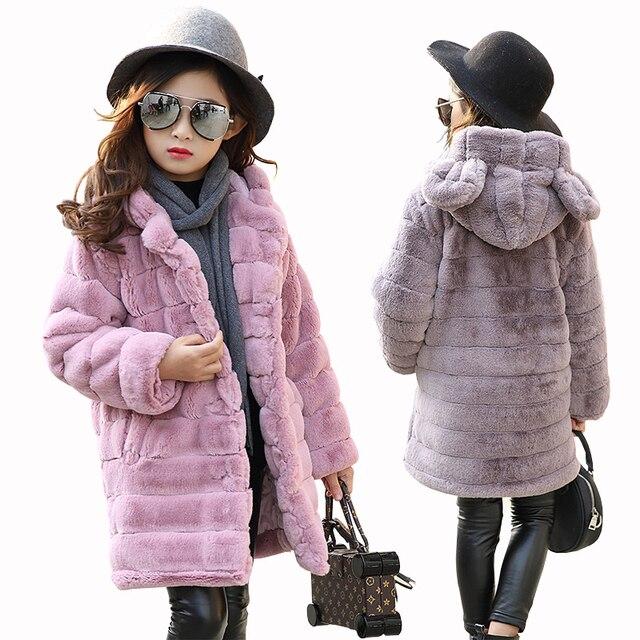 Inverno da menina imitação casaco de pele 2020 meninas grosso fluff casaco quente crianças roupas do bebê criança grosso mais veludo casaco atacado