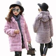 Mädchen der Winter Nachahmung Pelzmantel 2020 Mädchen Dicke Flusen Warme Mantel Kinder Baby Kleidung Dicke Kind Plus Samt Mantel großhandel
