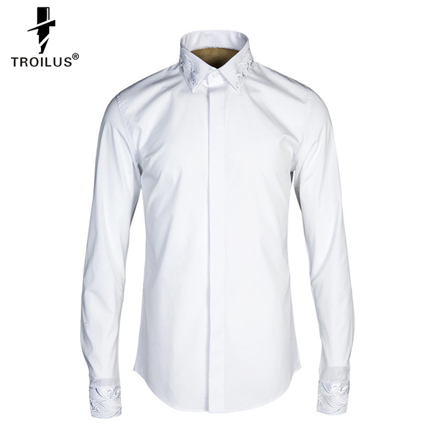 Troilus 2016 Men White Solid Long-Sleeve Dress Shirt Classic Turn-down Collar Business Casual Slim Fit Non-Iron Formal Shirts