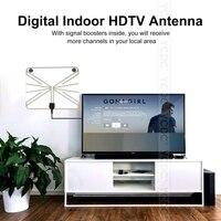 Chear Flat HD TV Amplified Indoor Digital TV Antenna High Gain HDTV 50 Miles Range ATSC DVB ISDB Detachable Signal Amplifier