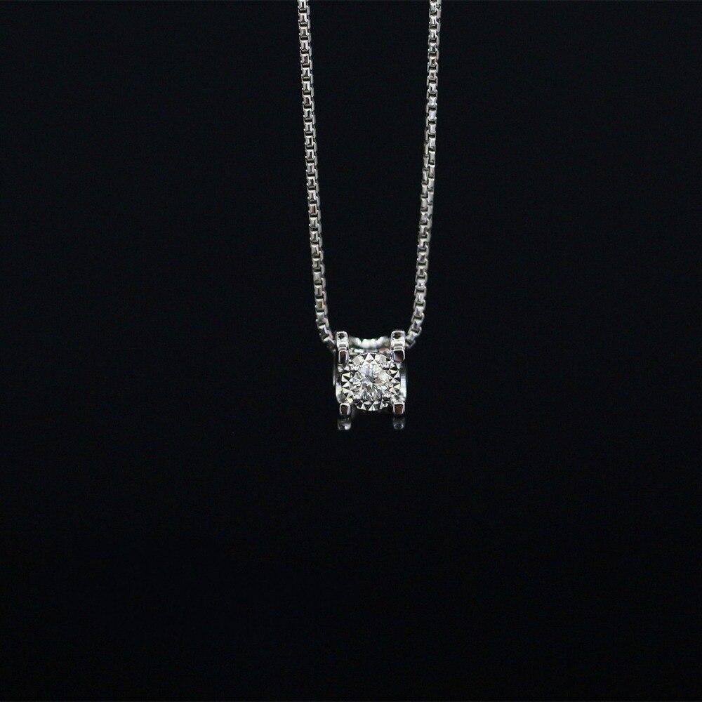 LASAMERO Halo 0.052CT 18k Gold Round Cut Square Center Pave Set Natural Diamond Pendant Necklace Chain Women Fine Jewelry