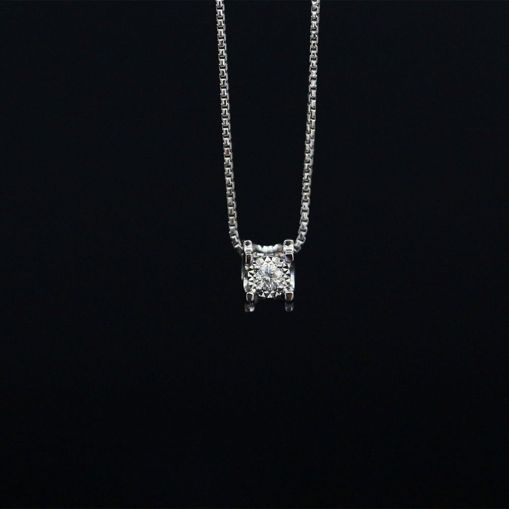 Lasamero Halo 0.052ct 18 К золото круглая огранка квадратный центр проложить комплект природных алмазов подвеска Цепочки и ожерелья цепь Для женщин Ю