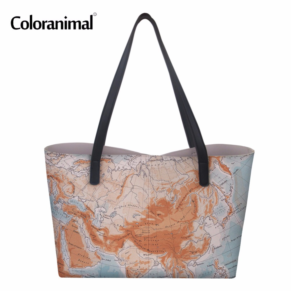 Coloranimal Fashion Shopping Handbags Women Bag National Flag Pattern Tote Shoulder Bag Luxury Designer Women PU Laethe Hand Bag