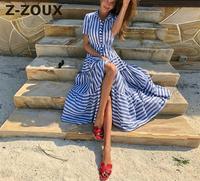 Z ZOUX Women Dress Stripe Short Sleeve Plus Size Beach Dress Color Matching Split Sexy Long Dress 2019 New Fashion Vintage