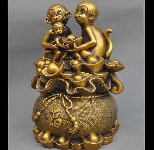 "WBY---322 + + + 12 ""גלגל המזלות מזל סין Fengshui ברונזה כסף עושר yuanbao מטבע 3 קוף פסל"
