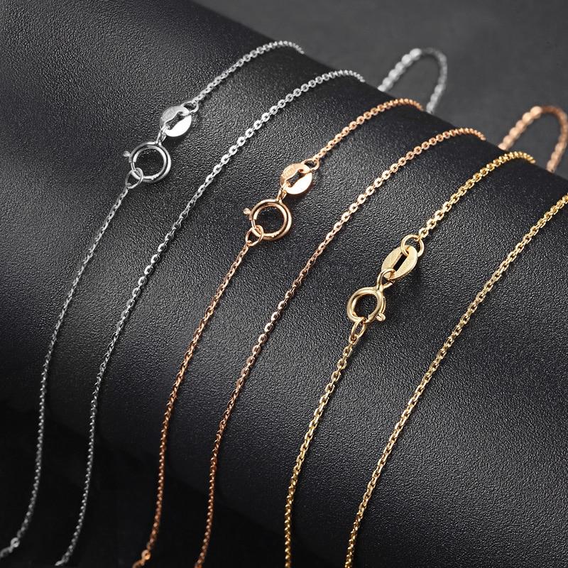 QYI mode 18 K blanc jaune Rose or lien chaîne 18 pouces Au750 collier pendentif Wendding fête cadeau pour les femmes - 3