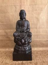 Elaborate Chinese Classical Black and Ebony Wood Hand Carved Sakyamuni Buddha Statue