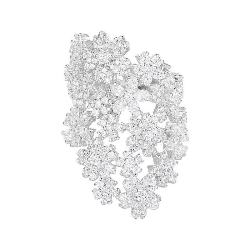 SLJELY ماركة تصميم 925 الاسترليني الفضة كامل الزهور مؤشر البنصر 5A مايكرو مكعب زركونيا تشيكوسلوفاكيا Mocano النساء المجوهرات الفاخرة-في خواتم من الإكسسوارات والجواهر على  مجموعة 1