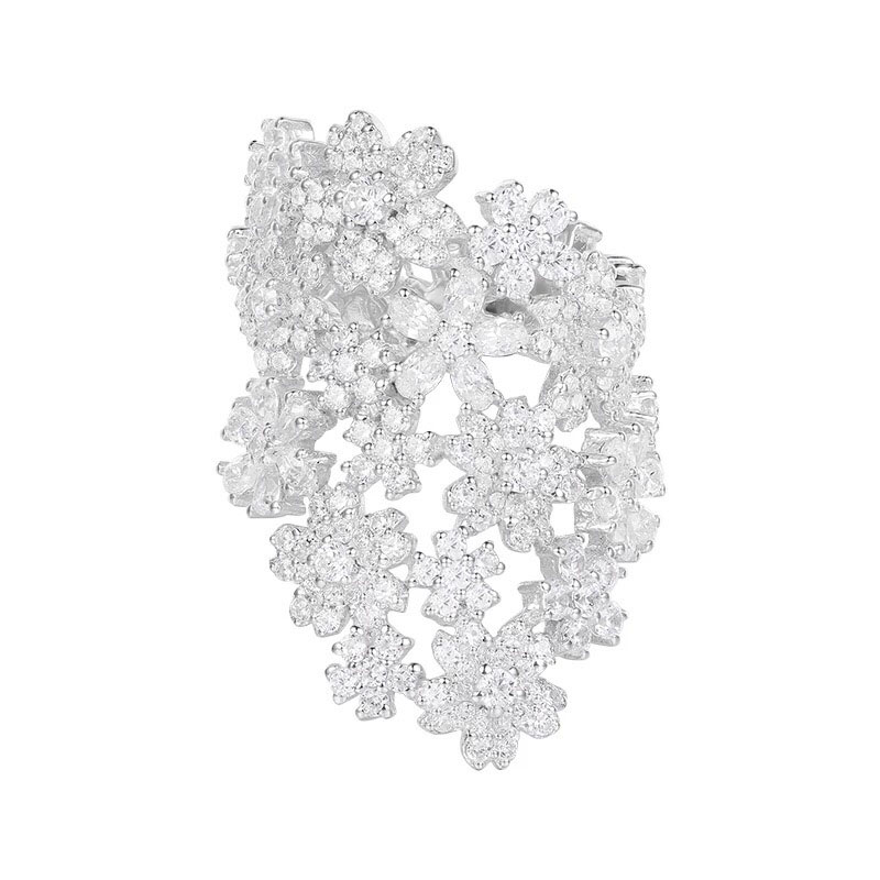 SLJELY ยี่ห้อออกแบบ 925 เงินสเตอร์ลิงดอกไม้ Index แหวนนิ้วมือ 5A Micro Cubic Zirconia CZ Mocano ผู้หญิงหรูหราเครื่องประดับ-ใน ห่วง จาก อัญมณีและเครื่องประดับ บน   1