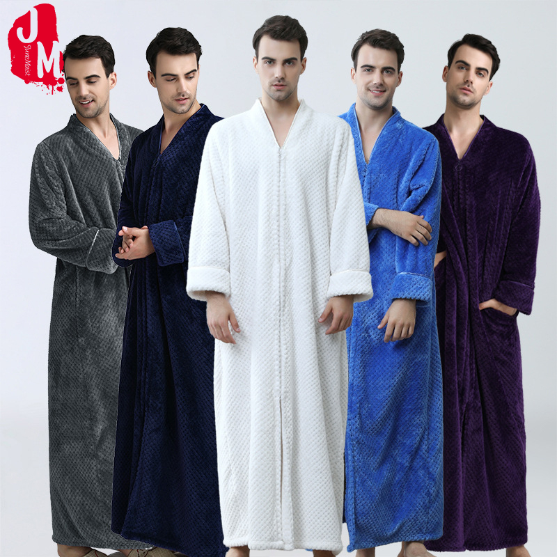 Thick Warm Winter Coral Fleece Bathrobe Men Soft Long Kimono Bath Robe Male Dressing Gown For Mens Flannel Robes Sleep L XL XXL