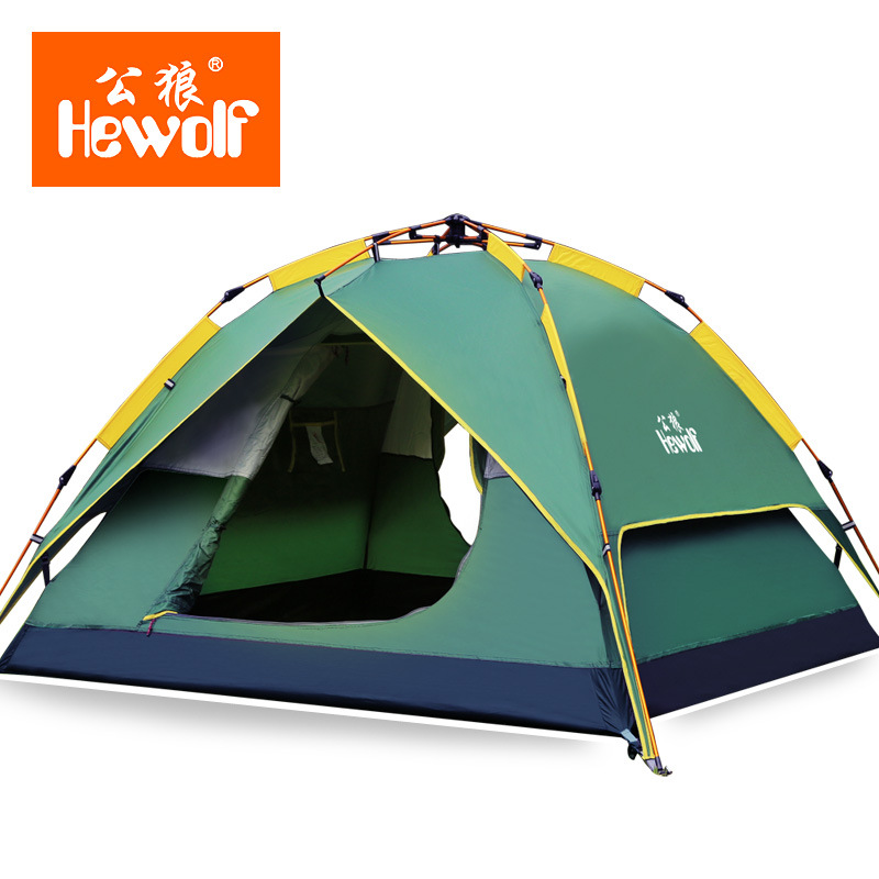 3-4 Persons Quick Open Tent Windproof Waterproof Double Layer Tent Ultralight Outdoor Hiking Camping Picnic Tents for 4 people hewolf 2persons 4seasons double layer anti big rain wind outdoor mountains camping tent couple hiking tent in good quality