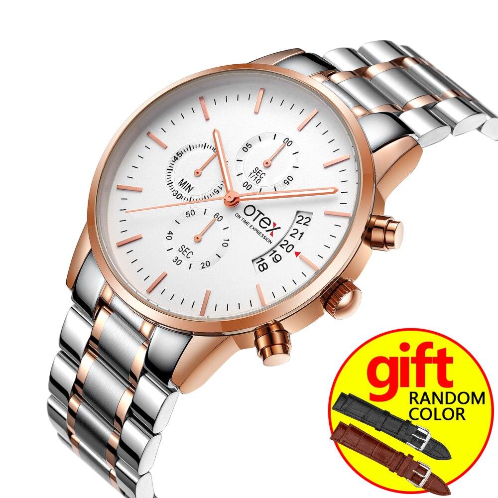 relogio masculino otex Men Watches Top Brand Luxury Fashion Business Quartz Watch Men Sport Full Steel Waterproof Wristwatch