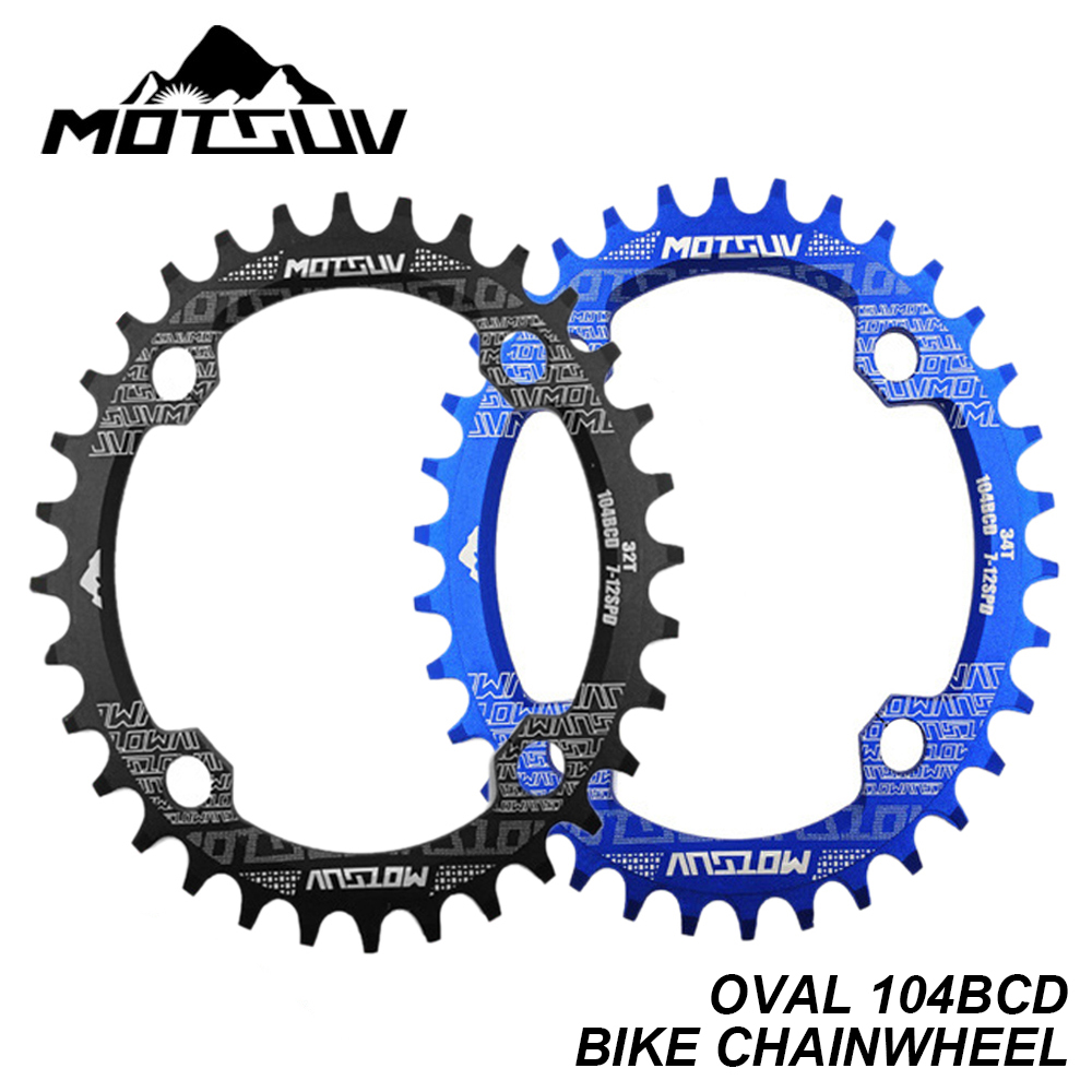 Bicycle Crank Chainwheel 104BCD Oval 32T 34T 36T 38T Chainring Narrow Wide MTB Road Bike Single Sprocket Crankset Bike Parts in Bicycle Crank Chainwheel from Sports Entertainment
