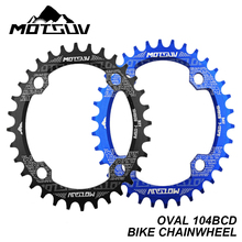 Bicycle Crank Chainwheel 104BCD Oval 32T 34T 36T 38T Chainring Narrow Wide MTB Road Bike Single Sprocket Crankset Bike Parts fouriers bicycle mountain bike mtb oval crankset chainring chainwheel 34t 48t aluminum bcd104 gear