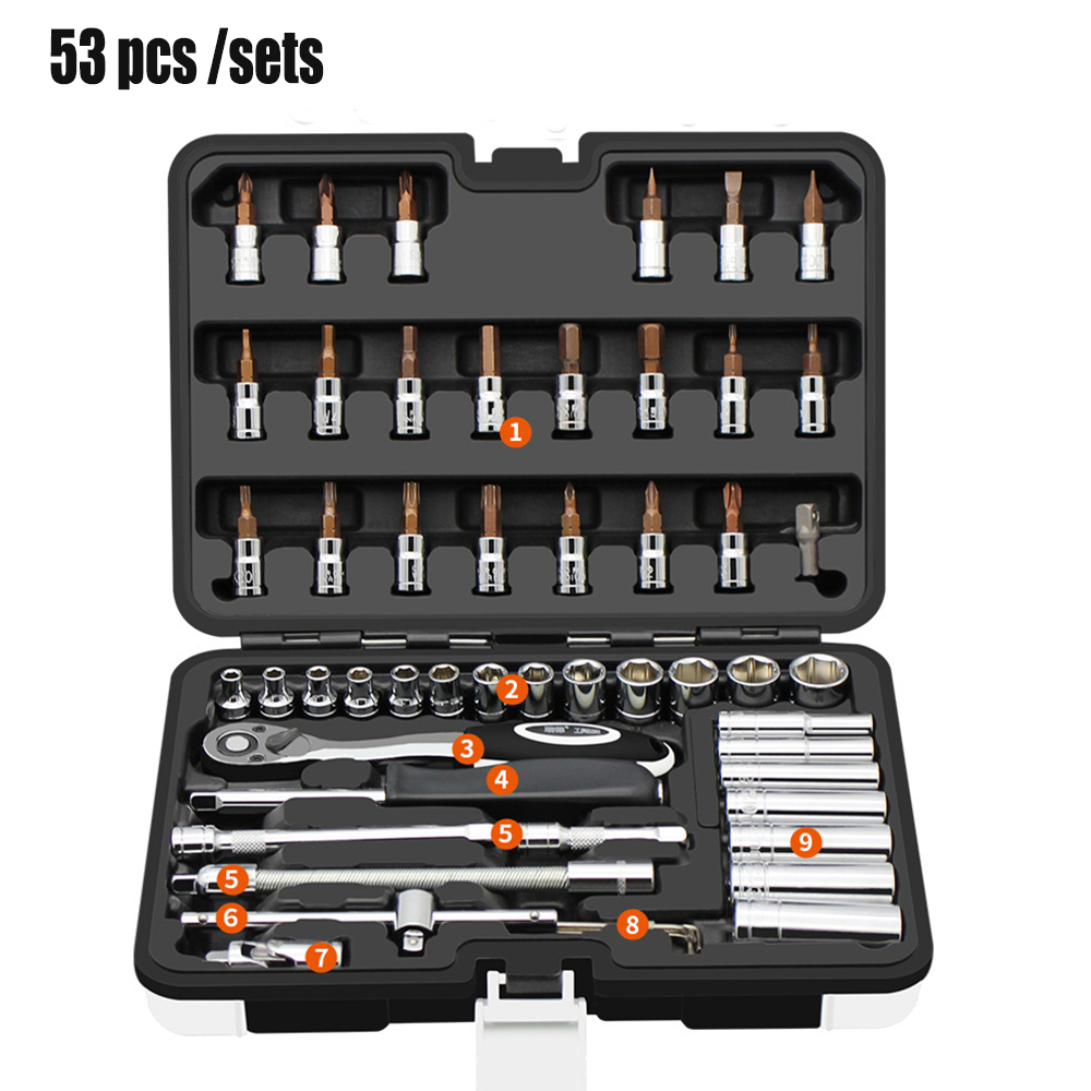 Automobile Motorcycle Car Repair Tool Box Precision Ratchet Wrench Set Sleeve Universal Joint Hardware Tool Kit For Car