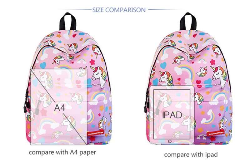 Unicorn 3D Printed Casual School Backpack Women Set 10