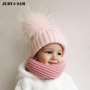 Chapéu do bebê 2019 chapéus do beanie do afastamento com a parte superior cabida da pelz da pele acessórios dos miúdos chapéus do bebê do inverno bonés chapéus da malha