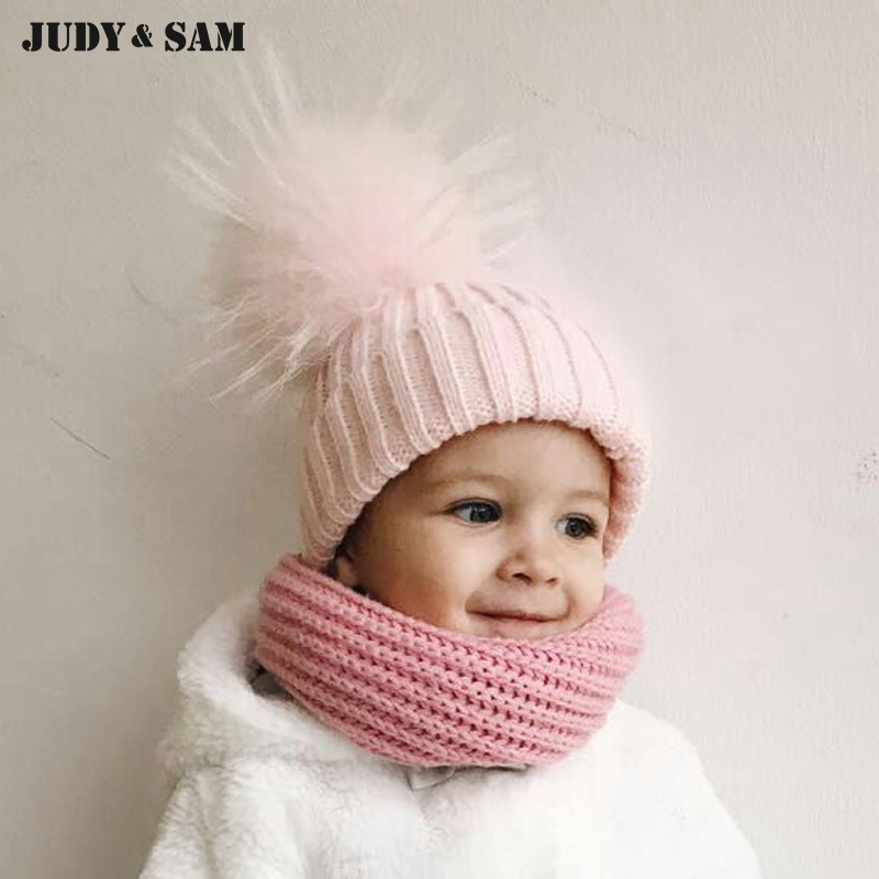 Crochet Baby Hat 2015 Մաքսազերծման զգեստներ Beanie Hats with Fur Pelz Top Fitted Kids Accessories