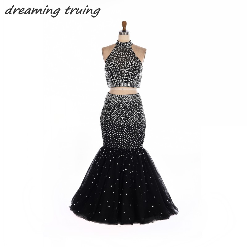 2 Two Pieces Black Prom Dresses Long Off Shoulder Hollow Back High Neck Mermaid Full Crystals Graduation Evening Party Gowns