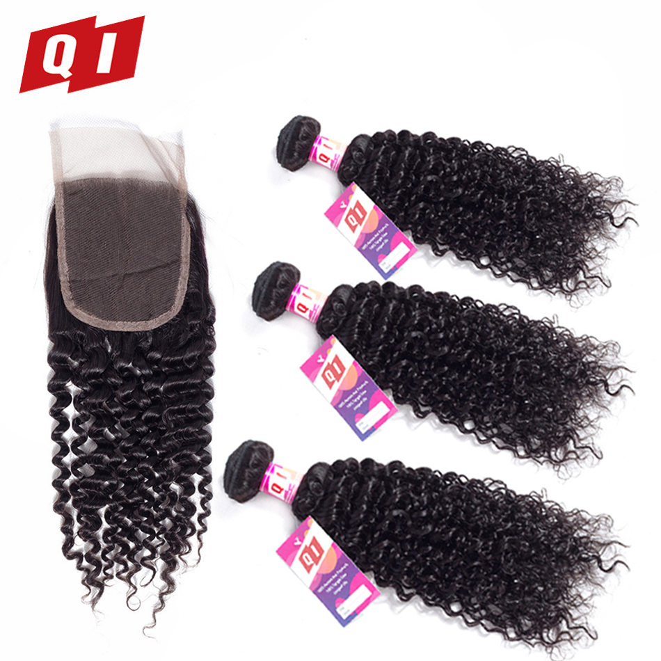 QI Hair 100% Indian Kinky Curly 3 Bundles With 4*4 Lace Closure Human Hair Non Remy Hair Natural Color