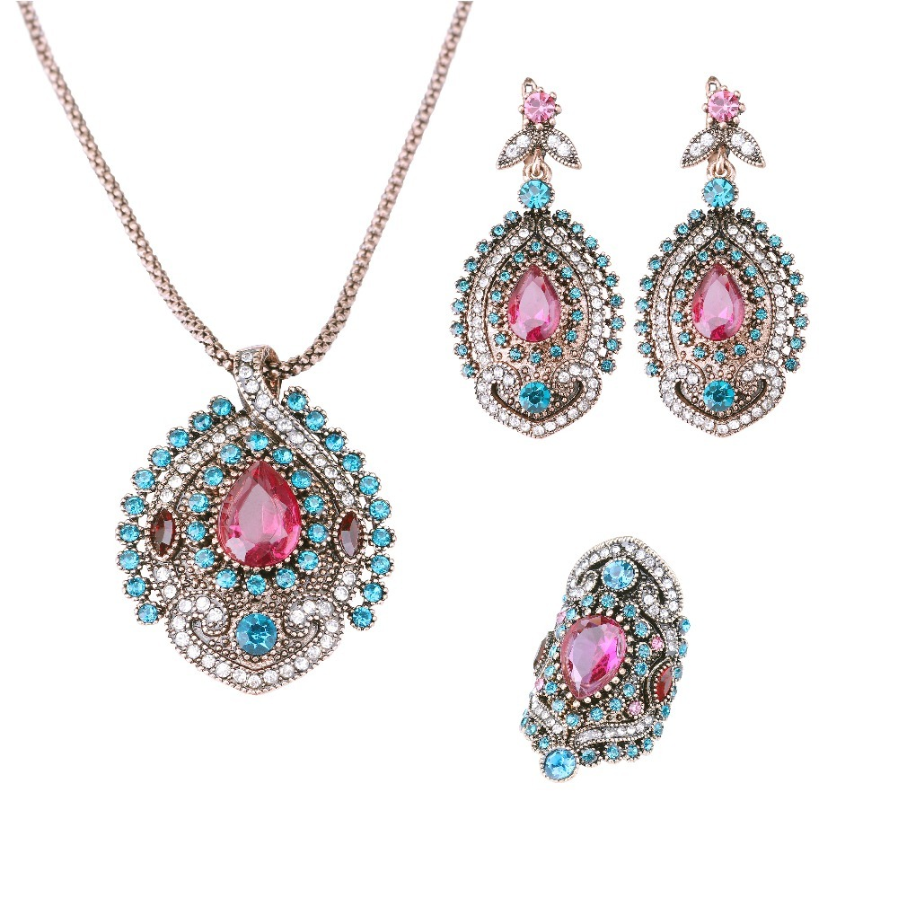 YIMLOI 3Pcs Vintage Jewelry Sets For Women Antique Gold Pink Crystal Wedding Party Earrings Necklace Ring Female Turkish Jewelry blucome vintage water drop green crystal jewelry sets for women party accessories turkish bronze color bangle ring earrings set