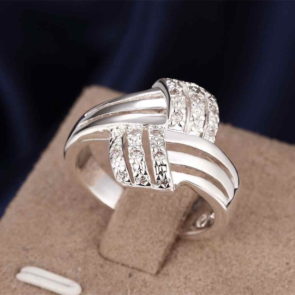 Wholesale Silver-plated Ring,Silver Fashion Jewelry,Women&Men Gift Twisted Cross Cubic Zircon Silver Finger Rings