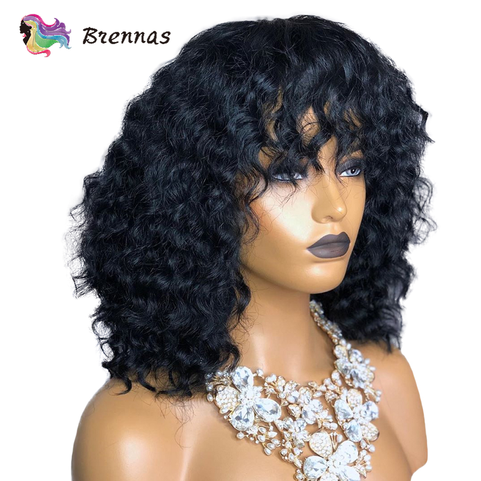 Brennas human hair lace wigs short bob curly wig with bangs Brazilian human remy hair 13X4