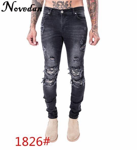 New Kanye West Black Ripped Jeans Men With Holes Denim Super Skinny Brand Slim Fit Push Up Jean Pants Plus Size Biker Jeans